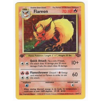 Pokemon Jungle Single 1st Edition Flareon 3/64 - MODERATE PLAY (MP)