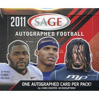 2011 Sage Autographed Football Hobby Box