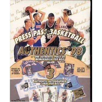 1998/99 Press Pass Authentics Basketball Hobby Box