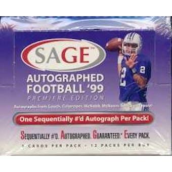 1999 Sage Autographed Football Hobby Box