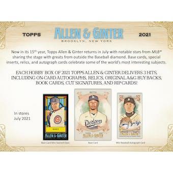 2021 Topps Allen & Ginter Baseball Hobby 12-Box Case (Presell)