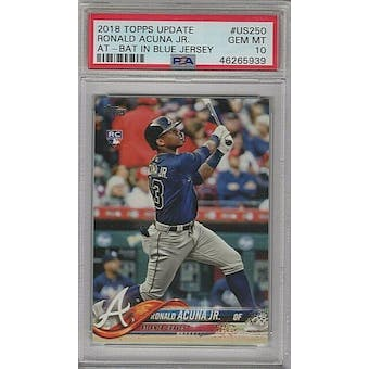 2018 Topps Ronald Acuna PSA 10 card #US250