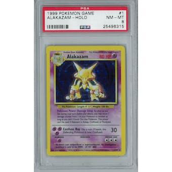Pokemon Base Set Unlimited Alakazam 1/102 PSA 8