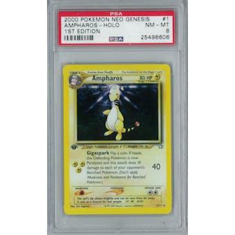 Pokemon Neo Genesis 1st Edition Ampharos 1/111 PSA 8