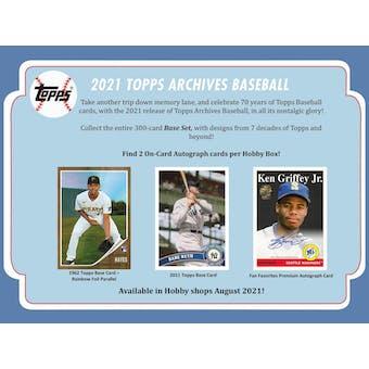 2021 Topps Archives Baseball Hobby 10-Box Case (Presell)