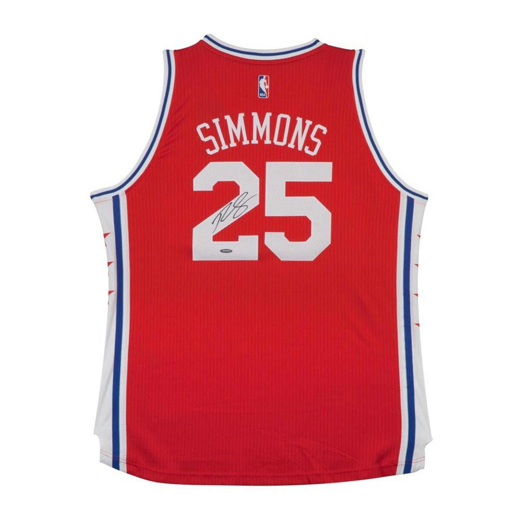 premium selection e7561 e3487 Ben Simmons Autographed Philadelphia 76ers Red Basketball Jersey UDA