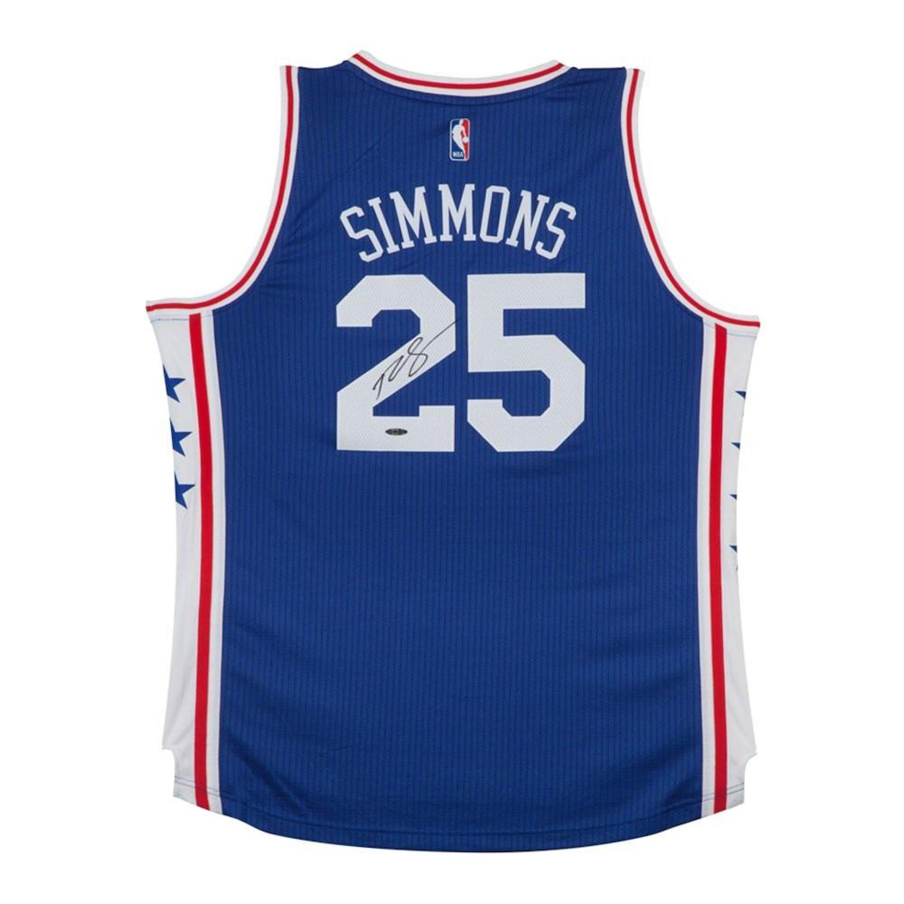 a93f7823b381 Ben Simmons Autographed Philadelphia 76ers Blue Basketball Jersey UDA