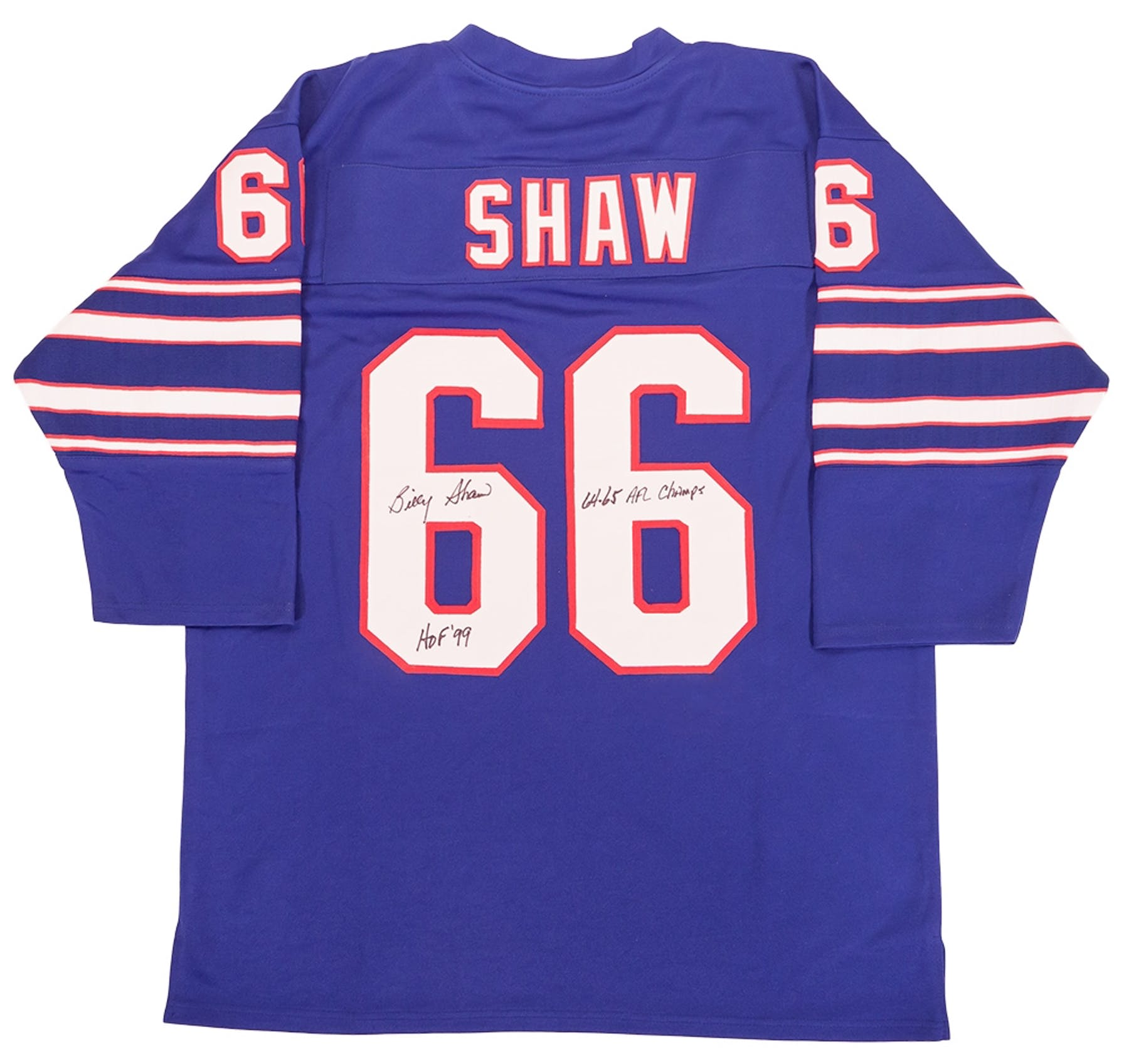 sports shoes a7d07 29c1b Billy Shaw Autographed Buffalo Bills Jersey w/ HOF 99 & AFL Champs