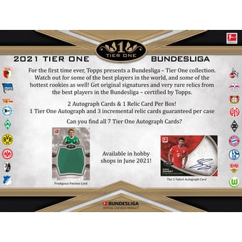 2021 Topps Tier One Bundesliga Soccer Hobby 12-Box Case (Presell)