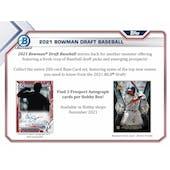 2021 Bowman Draft Baseball Hobby Jumbo Box (Presell)