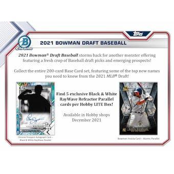 2021 Bowman Draft Baseball Hobby LITE 16-Box Case (Presell)