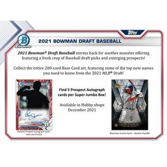 2021 Bowman Draft Baseball Hobby SUPER Jumbo 6-Box Case (Presell)