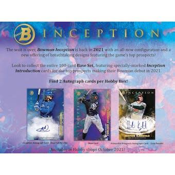 2021 Bowman Inception Baseball Hobby 16-Box Case (Presell)