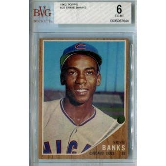 1962 Topps Baseball #25 Ernie Banks BVG 6 (EX-MT) *7044 (Reed Buy)