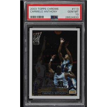 2003/04 Topps Chrome Carmelo Anthony PSA 10 card #113