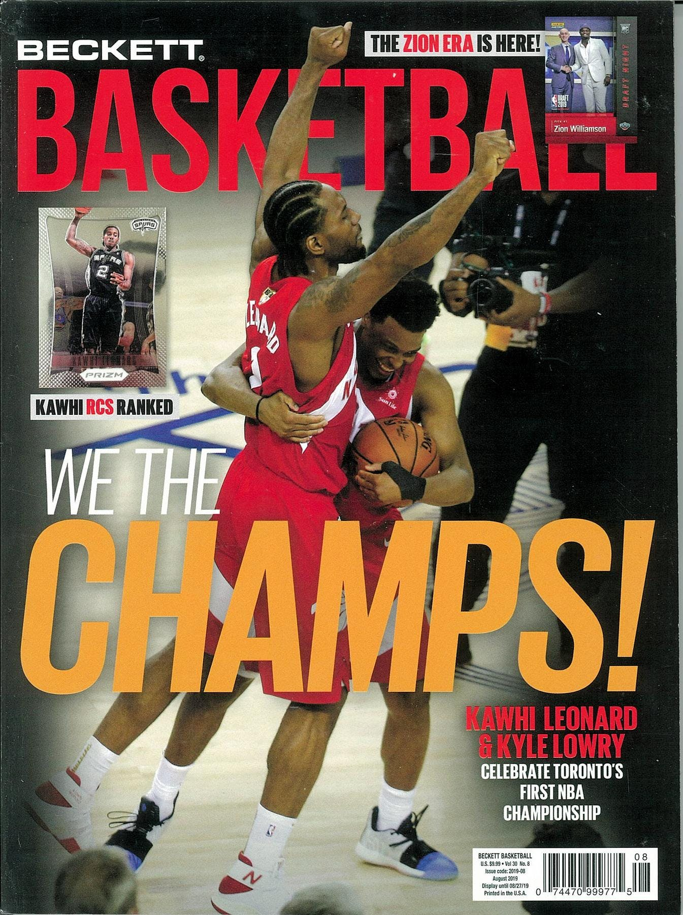 2019 Beckett Basketball Monthly Price Guide (#323 August) (We the CHAMPS)
