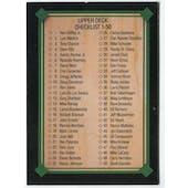 1989 Upper Deck Checklist 1-50 Blank Back Black Border Proof