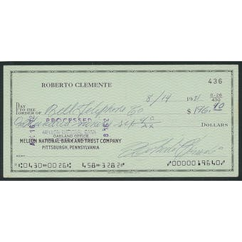 1971 Roberto Clemente Signed Check - PSA/DNA