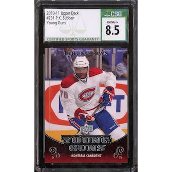 2010/11 Upper Deck Young Gun P.K. Subban CSG 8.5 card #231