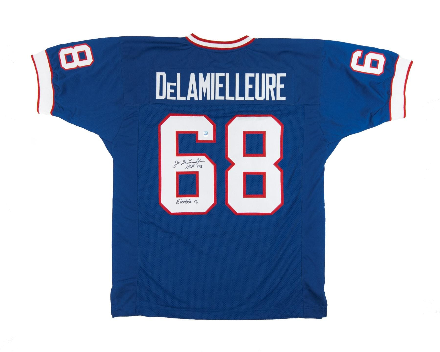 half off 4cb9e 879d9 Joe DeLamielleure Autographed Buffalo Bills Blue Football Jersey Electric  Company