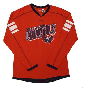 Washington Capitals Reebok Red Team Jersey Long Sleeve Tee Shirt (Womens L)