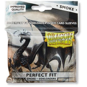 Dragon Shield Card Sleeves Perfect Fit Side Loading - Smoke (100 Ct.)