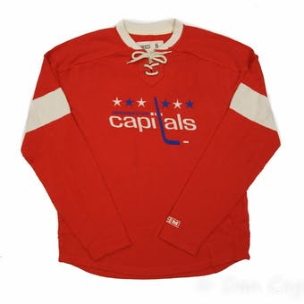 Washington Capitals CCM Reebok Red Lace Up Long Sleeve Fleece Crew (Adult M)