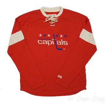 Washington Capitals CCM Reebok Red Lace Up Long Sleeve Fleece Crew (Adult M)