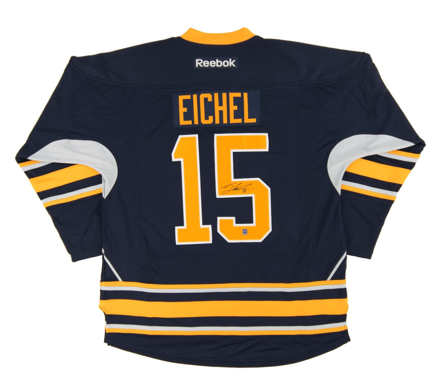 new product 8d67a 107be Jack Eichel #15 Autographed Buffalo Sabres Large Blue Hockey Jersey