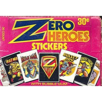 Zero Heroes Stickers Trading Cards Wax Box (1984 Donruss)