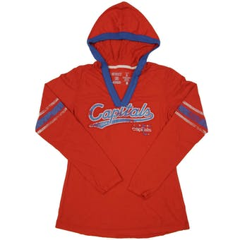 Washington Capitals CCM Reebok Red Classics Long Sleeve Hooded Tee Shirt