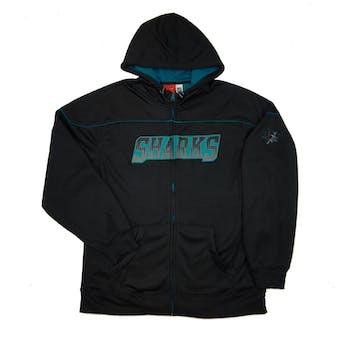 San Jose Sharks Reebok Black Accelerator Full Zip Fleece Hoodie (Adult XXL)