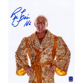 Ric Flair Autographed Gold Robe 16x20 Wrestling Photo