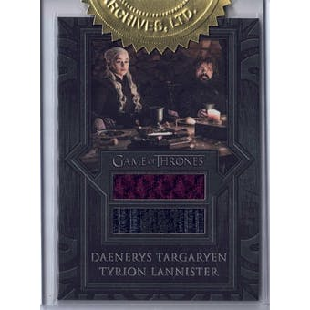 Game of Thrones The Complete Series Daenerys/Tyrion Double Relic Card (Rittenhouse 2020)