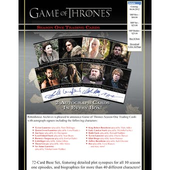 Game of Thrones Season One Trading Cards Archives Box (Rittenhouse 2012)