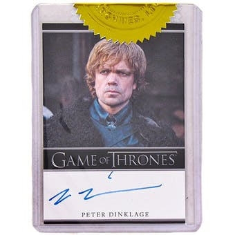 Game of Thrones Season One Peter Dinklage Autographed Card (Rittenhouse 2012)