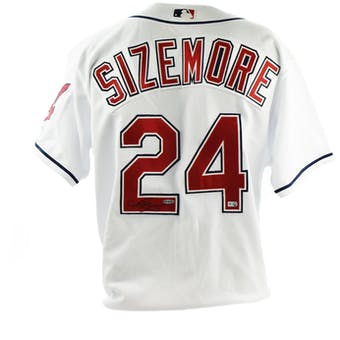 Grady Sizemore Upper Deck UDA Auto Official White Cleveland Indians Jersey