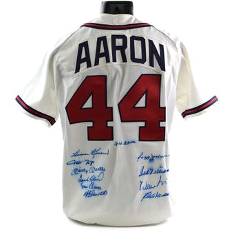 500 Home Run Club Hank Aaron Jersey Autographed by 11 HOFer's - Mantle-Williams-Aaron-Mays-McCovey