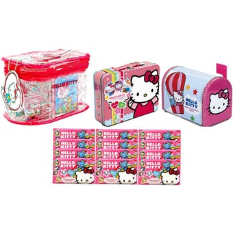 Hello Kitty Collectible SUPER COMBO - Lunch Box + Mail Box + Carry-All + 12-Collectipaks