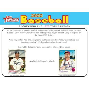 2022 Topps Heritage Baseball Hobby Box (Presell)