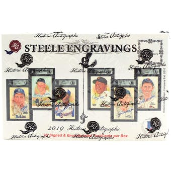 2019 Historic Autographs Steele Engravings Baseball Hobby Box