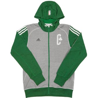 Boston Celtics Adidas Heather Grey & Green Pre-Game Full Zip Fleece Hoodie (Adult XXL)