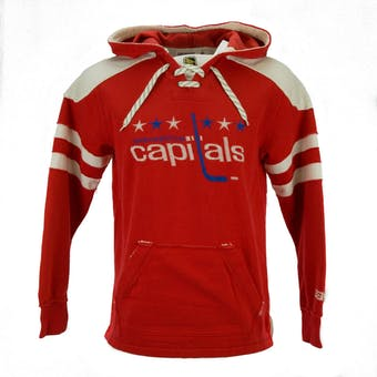 Washington Capitals CCM Reebok Red Lace Up Fleece Jersey Hoodie (Adult S)