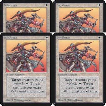 Magic the Gathering Alpha PLAYSET Holy Armor - 4x SLIGHT PLAY (SP)