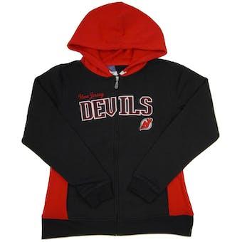 New Jersey Devils Reebok Black & Red Full Zip Fleece Hoodie (Womens S)