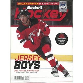 2019 Beckett Hockey Monthly Price Guide (#327 November) (Jack Hughes)