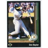 1989 Upper Deck Don Baylor Oakland A's Blank Back Black Border Proof