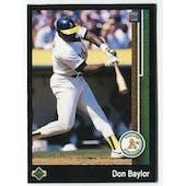 1989 Upper Deck Don Baylor Oakland A's Blank Back Black Border Proof