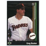 1989 Upper Deck Greg Booker San Diego Padres Blank Back Black Border Proof