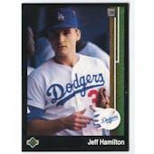 1989 Upper Deck Jeff Hamilton Los Angeles Dodgers Blank Back Black Border Proof